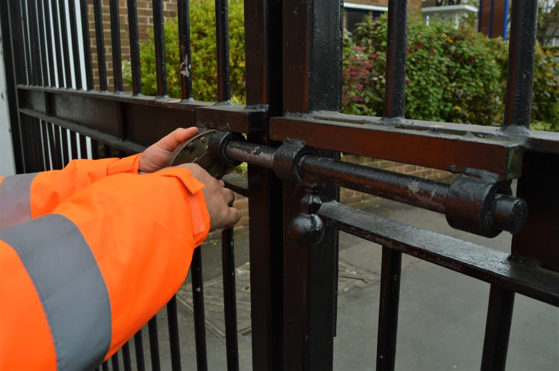 Security guard locking up property