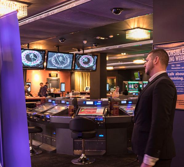 Security guard inside casino and gambling shop